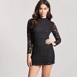 Forever 21 Black Lace Mock Neck Dress